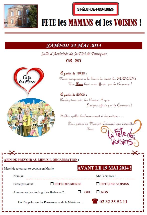 La fête des mamans et la fêtes des voisins le 24 mai à Saint-Eloi-de-Fourques