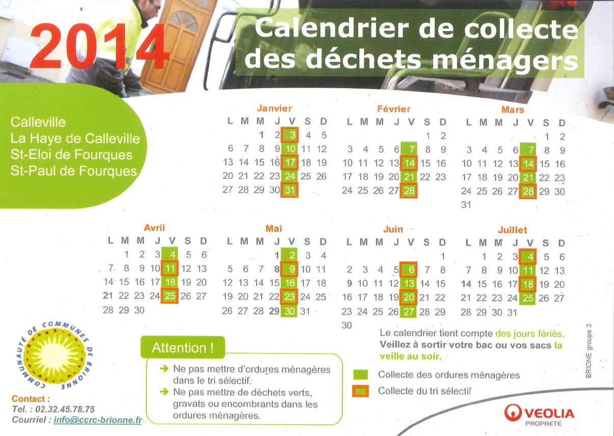 Le calendrier du 1er semestre 2014 de la collecte des déchets ménagers à Saint-Eloi-de-Fourques