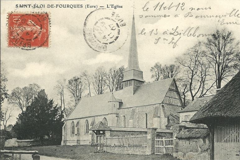 L'église et l'if de Saint-Eloi-de-Fourques en 1907