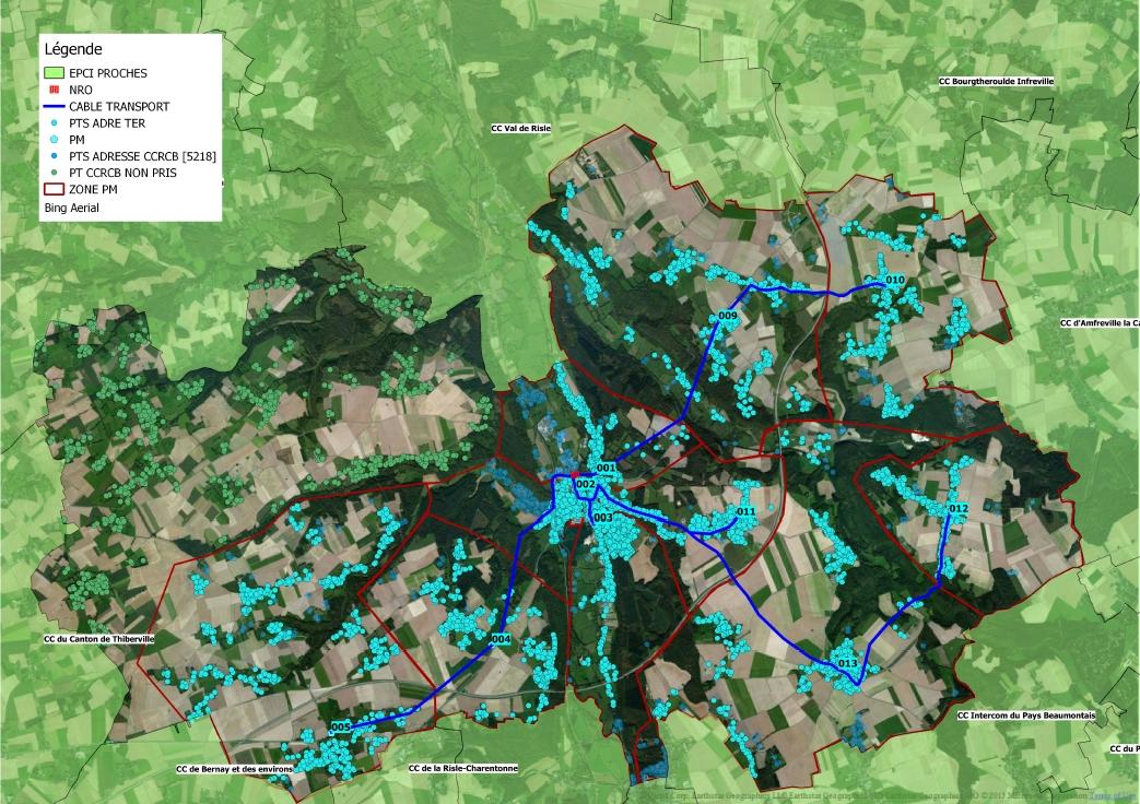 La carte du THD Très Haut Débit pour le canton de Brionne