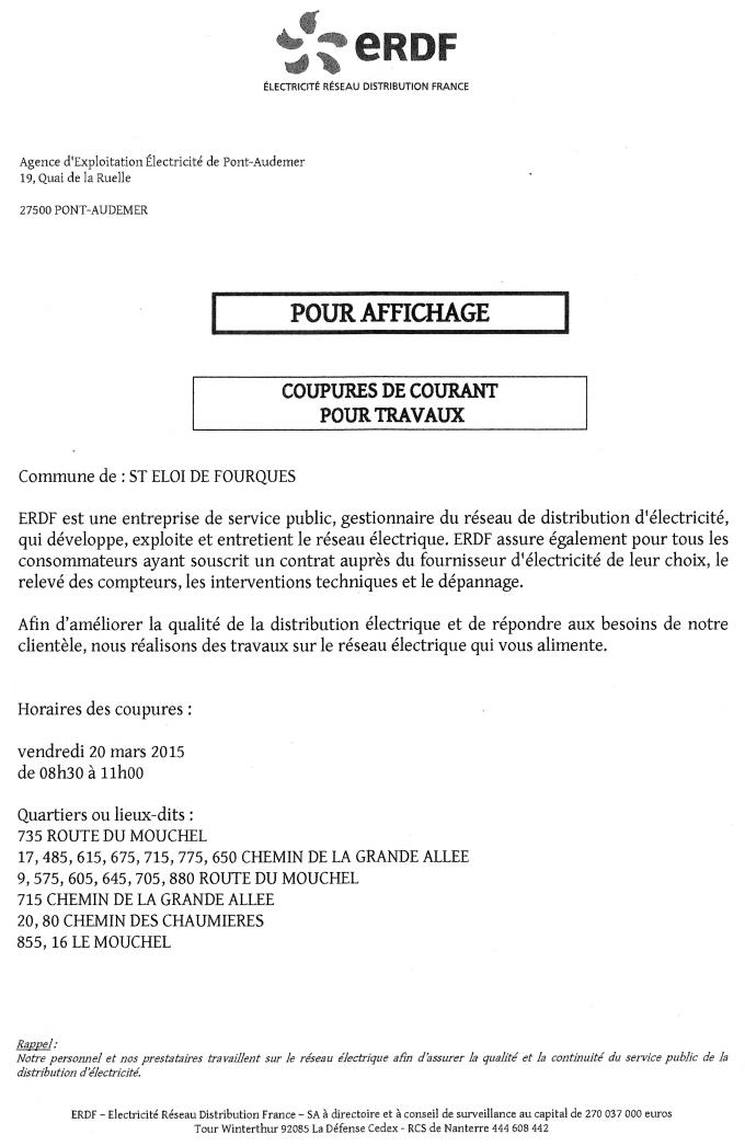 Coupure de courant sur le Mouchel le 20 mars