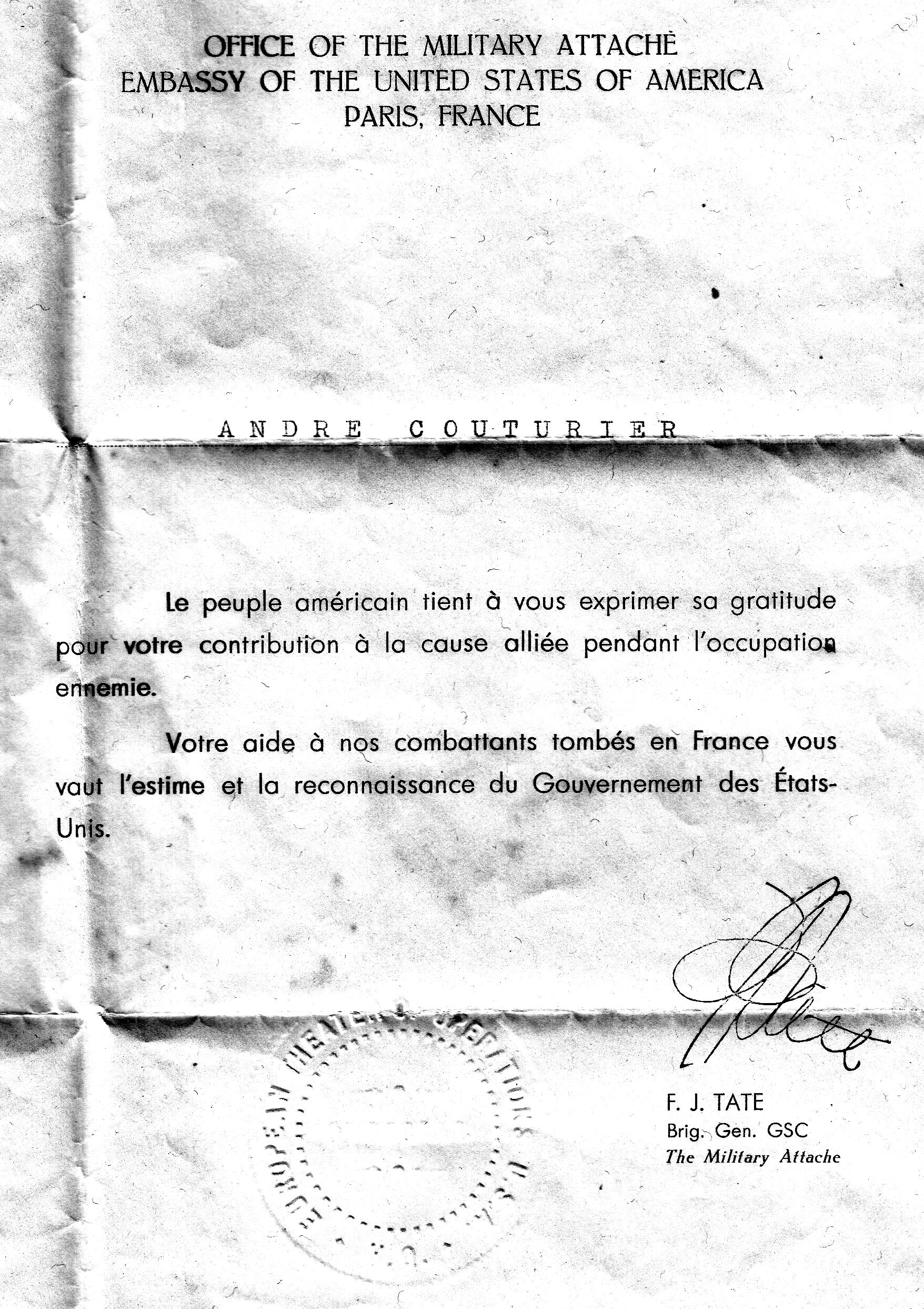 La lettre de l'attaché militaire de l'ambassade des Etats-Unis à André Couturier au lendemain de la guerre 39-45