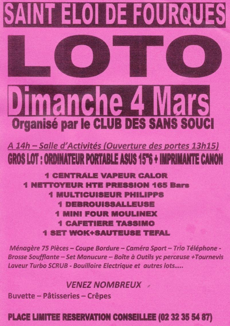 Loto le dimanche 4 mars à Saint-Eloi-de-Fourques