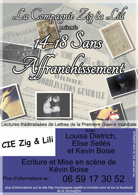 Théâtre : 14-18 sans affranchissement, le samedi 10 novembre à 20 h 30