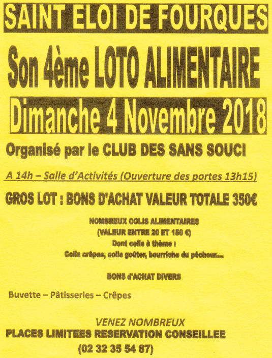 Loto alimentaire le 4 novembre, Saint-Eloi-de-Fourques