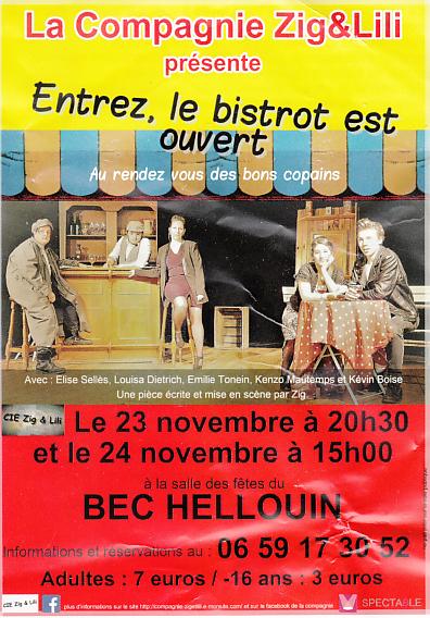 Théâtre au Bec-Hellouin les 23 et 24 novembre 2019
